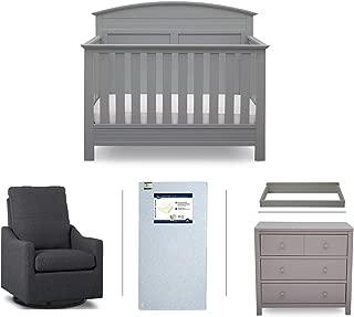 Serta Ashland 5-Piece Nursery Furniture Set (Serta Convertible Crib, 4-Drawer Dresser, Changing Top, Serta Crib Mattress, Glider), Grey/Charcoal
