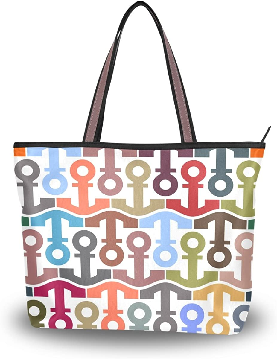 JSTEL Women Large Tote Top Handle Shoulder Bags Colorful Anchors Patern Ladies Handbag