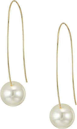 Kenneth Jay Lane - Gold Long Wire with White Pearl Bottom Drop Wire Ear Earrings