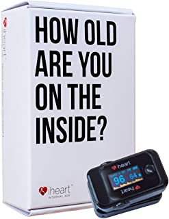 iHeart Internal Age Health Monitor, Fingertip Health and Fitness Tracker. Measure Biological Age, Pulse Wave Velocity, Aortic Stiffness, Sp02 and Heart Rate BPM with our iOS and Android App