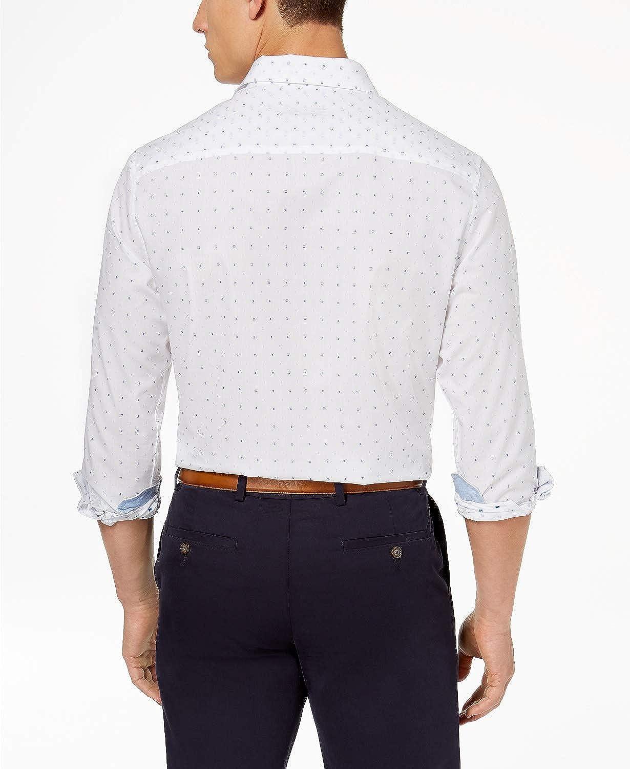 Tasso Elba Mens Dobby Pattern Spread Collar Dress Shirt