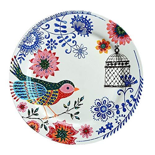 YUWANW Apenada Vintage | país francés vajilla de cerámica Carrefour espíritu pájaro Decorativo Placa de hogar Placa Plana