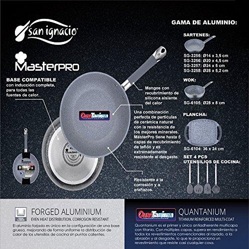 San Ignacio MasterPro GRAN FORMATO-Grill 28x28, Wok 28 y Plancha Asador 36 cms, gris, inducción, aluminio forjado, Multicolor
