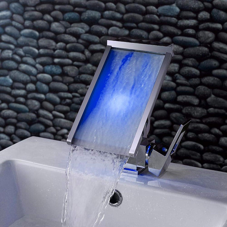 3 farben gendert led wasserhahn temperatursensor wasserbetriebene led wasserhahn. Badezimmer deck montiert wasserfall waschbecken mischbatterie