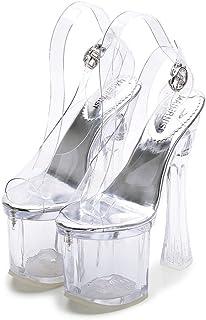 GLJJQMY Sandals Sexy High Heel High Crystal Transparent Platform Pump Dinner Party Bar 18cm Women's Sandals (Color : Transparent, Size : 38)