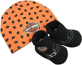 Harley-Davidson Baby Boys' Beanie & Biker Booties Set, Orange & Black 7050879