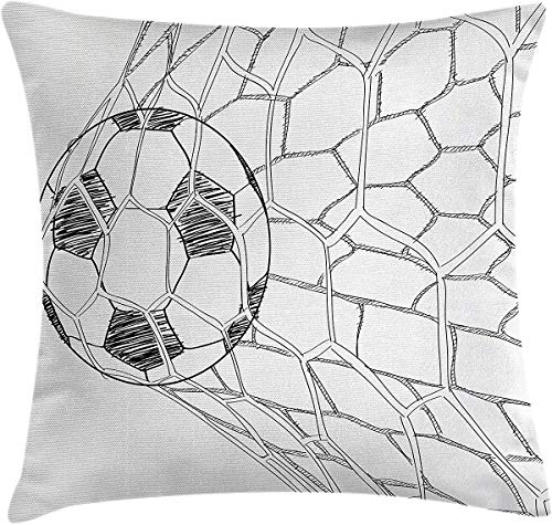 Throw Pillow Cover, Soccer Throw Pillow Cushion Cover, Soccer Ball in Net Goaly Position Sports Competition Spectators Hand Drawn Style, Decorative Square Accent Pillow Case 26' x 26', Black White