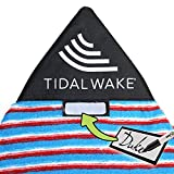 Tidal Wake TAG-IT Pointed Nose Surf & Wake Board Sock Bag with Built-in Name Tag, Personalize - Small 52-53', Tag Your Bag (Blue & Coral Striped)