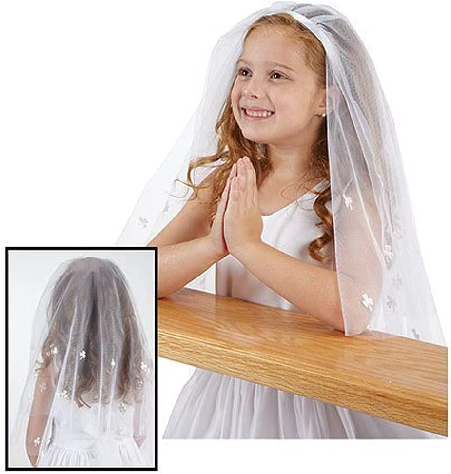 XKMY New Children Girl First Communion Veil Tulle with Comb Short Wedding Flower Girl Veil Flower Applique (Color : White)