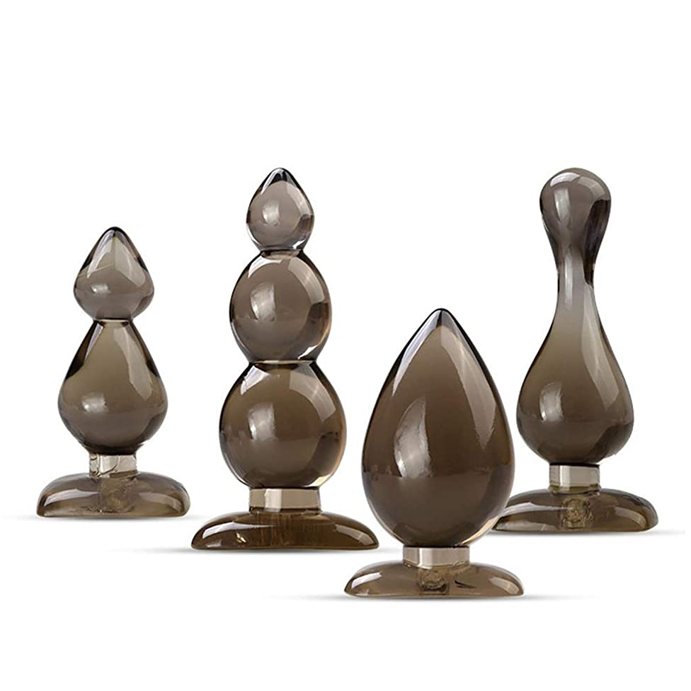 Rubber Plug Single/Double/Triple-Beads/Vase-Shaped Plug Adult Sex Toy Couple Sex Game Tool,Set of Four