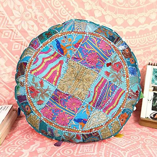 Casa Moro Patchwork Yogakissen Lali Türkis Ø 40cm x Höhe 10cm rund mit Füllung | Indisches Sitzkissen Boho Style Bodenkissen orientalisches Chillkissen | MA1305