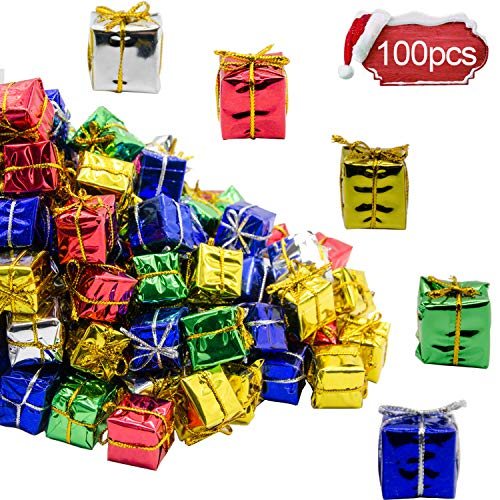 Shiny Mini Boxes Ornaments-Assorted Colors Metallic Foil Wrapped Ornaments Decoration Boxes for Christmas Tree Hanging Decorations