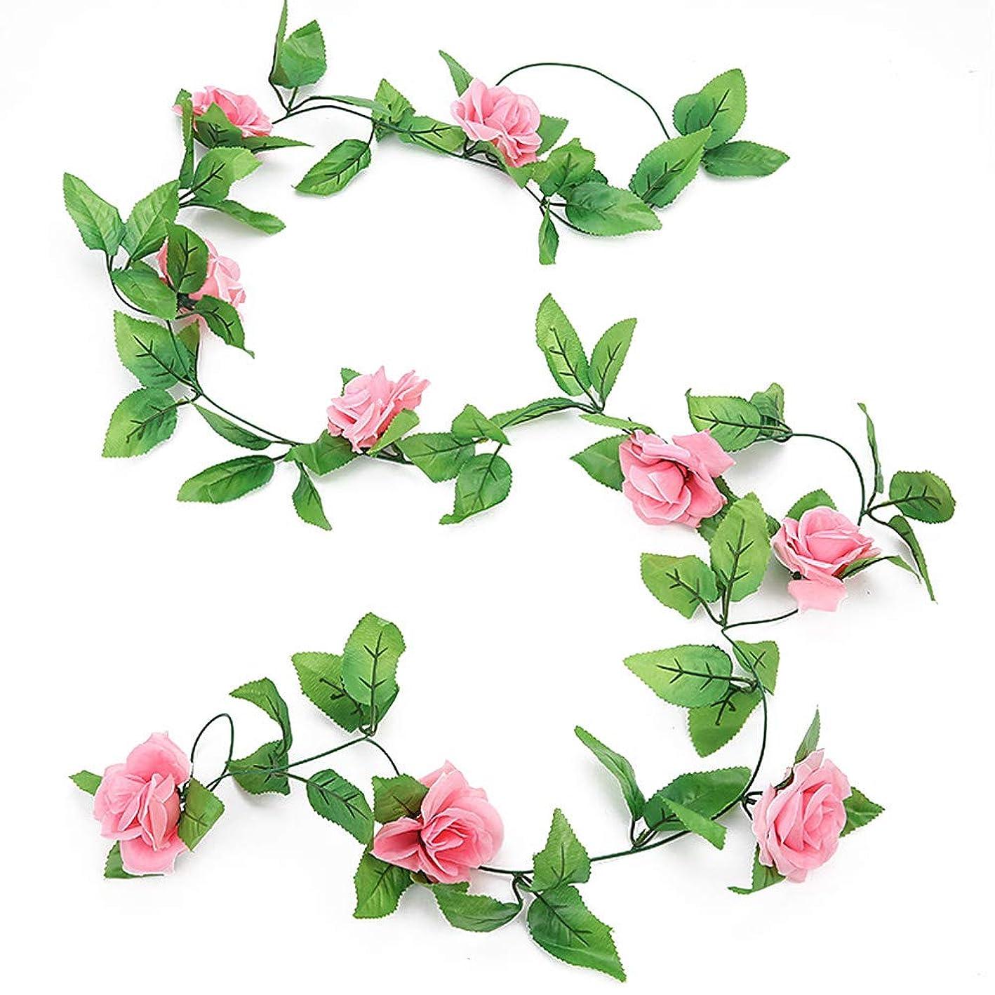 ダースにぎやかスティックKIICN エミュレーション シミュレーションバラのつる バラの花のひも お祝い 手作り 偽植物 9ヘッドローズ ファッション