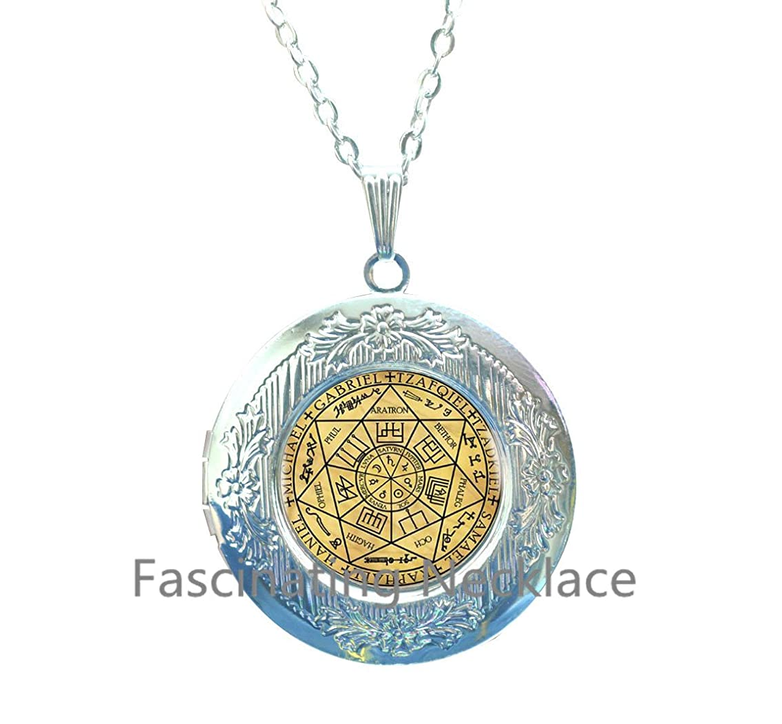 New Locket Necklace,Seals Of The Seven Archangels Locket Pendant Choker Statement Silver Locket Necklace For Women Dress Accessories - Abaicer Jewerly,AE0002