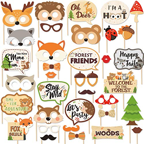 35 PCS Woodland Animal Photo Booth Props Wild One Camping Forest Theme Party Favors Decorations For Woodland Creatures Baby Shower Birthday Party Supplies