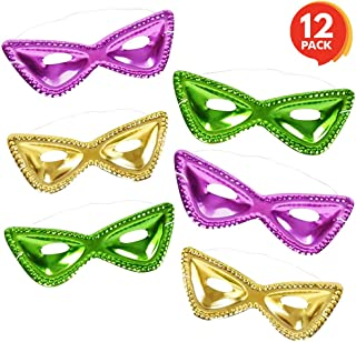 ArtCreativity 8 Inch Mardi Gras Cat Eye Masks - Set of 12 - Durable Plastic with Elastic Strap - Cute Mask for Costume Party, Masquerades, Birthday Party - Gold, Green, and Purple - for Kids Ages 5+