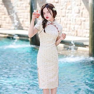 Summer Sexy Diamond Chiffon Knee-Length Cheongsam Chinese Traditional Women'S Short-Sleeved Dress