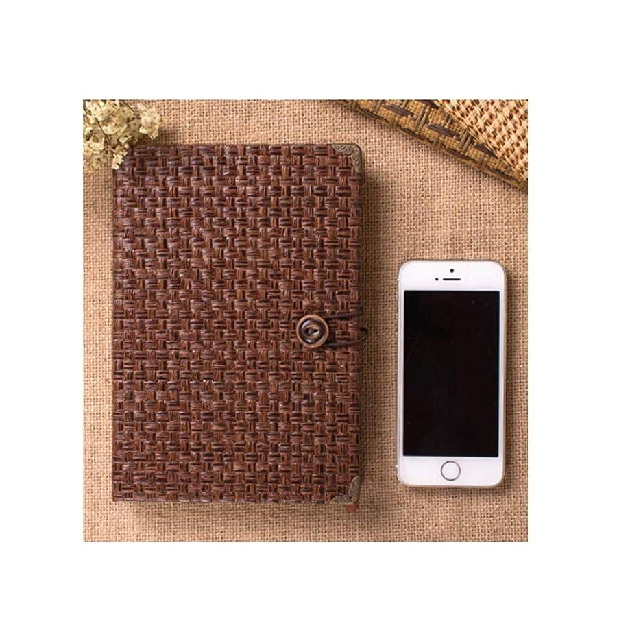ノートブック - 草織り日記クリエイティブ手作りメモ帳、シンプルで絶妙な、ギフトホリデーギフトボックス、色:こげ茶、こげ茶 (Color : Dark brown)
