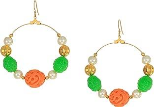 Kenneth Jay Lane Women's Gold with Jade/Coral/White Pearl Hoop Fishhook Earrings