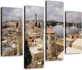 Jerusalem Old City Panoramic Aerial View Canvas Wall Art Hanging Paintings Modern Artwork Abstract Picture Prints Home Decoration Gift Unique Designed Framed 4 Panel