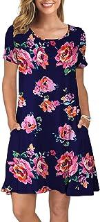 d91aabddea2117 KORSIS Women's Summer Casual T Shirt Dresses Short Sleeve Swing Dress with  Pockets