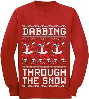 Dabbing Through The Snow Santa Christmas Dab Youth Kids Long Sleeve T-Shirt