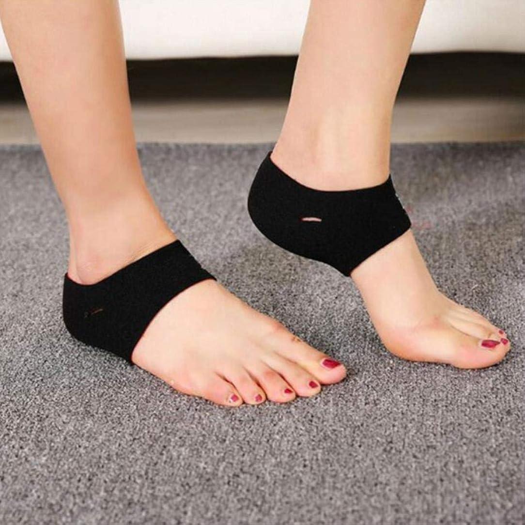 罪悪感チューブ神経障害足底筋膜炎のための2対のクッション付き圧縮アーチサポート倒れたアーチヒールスプリアスフラットとアーチーの足の問題(ワンサイズ)
