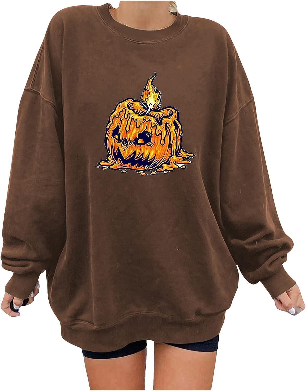 Halloween Sweatshirt Skull in Pumpkin Pullover Novelty Hoodie Casual O-Neck Long Sleeve Skeleton Printing Funny T-Shirt