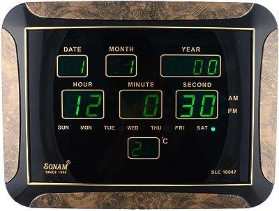 Sonam Quartz Premium Electric Connection LED Wall Clock With Temperature Display