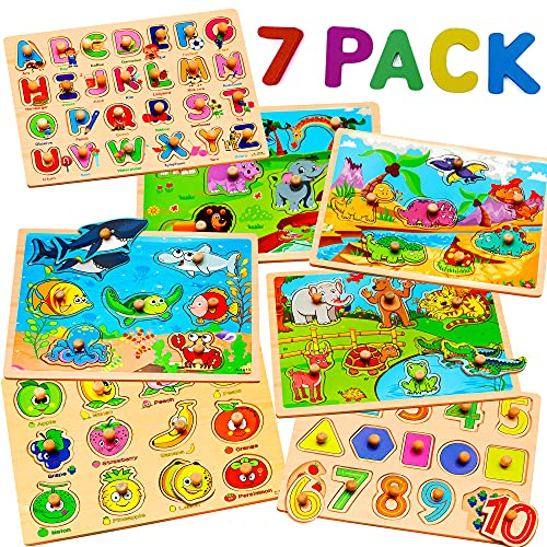 7 Pack Wooden Puzzles for Toddlers 2 3 4 5 Years Old - 7 Colorful Chunky Wood Peg Puzzles for Kids ages 2-5, Alphabet Shape Numbers Fruits Sea Animals Dinosaur Zoo - Educational Toddler Learning Toys