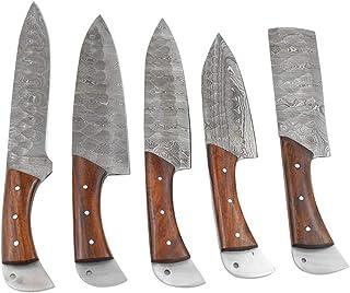 Sponsored Ad - Wild Turkey Handmade Damascus 5pc Kitchen Chef Knife Gaming Set Full Tang Blades Rose Wood Handles Sharp