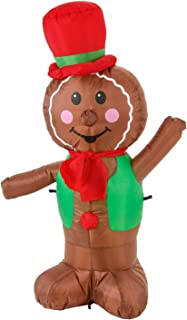 TCP Global Christmas Masters 4 Foot Inflatable Christmas Gingerbread Man Cookie with LED Lights Indoor Outdoor Yard Lawn Decoration - Cute Fun Xmas Holiday Blow Up Party Display