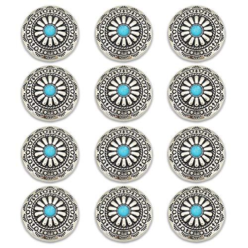 コンチョ ボタン 12個セット ネジ式 30mm ターコイズ デージー柄 レザークラフト 財布 手芸 装飾ボタン (ブルー)