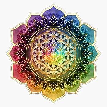 Rainbow Flower Of Life With Lotus Sticker Vinyl Bumper Sticker Decal Waterproof 5