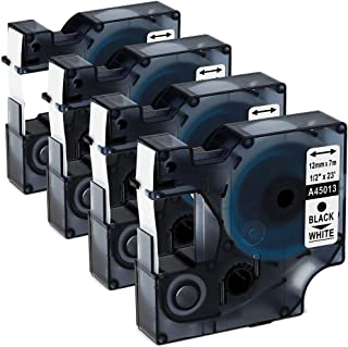 4 Pack D1 Label Tape 45013 S0720530 1/2 Inch 12 mm Black on White D1 Tape Compatible for DYMO LabelManager 160 280 210D 260P 360D 420P PnP 450D 500TS 450DUO, 23 Feet