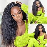 Kinky Straight Headband Wig 14 inch Headband Wigs Human Hair For Black Women Thick Yaki Straight Headband Wig Short Black Wigs Human Hair Half Wigs 150 % Density