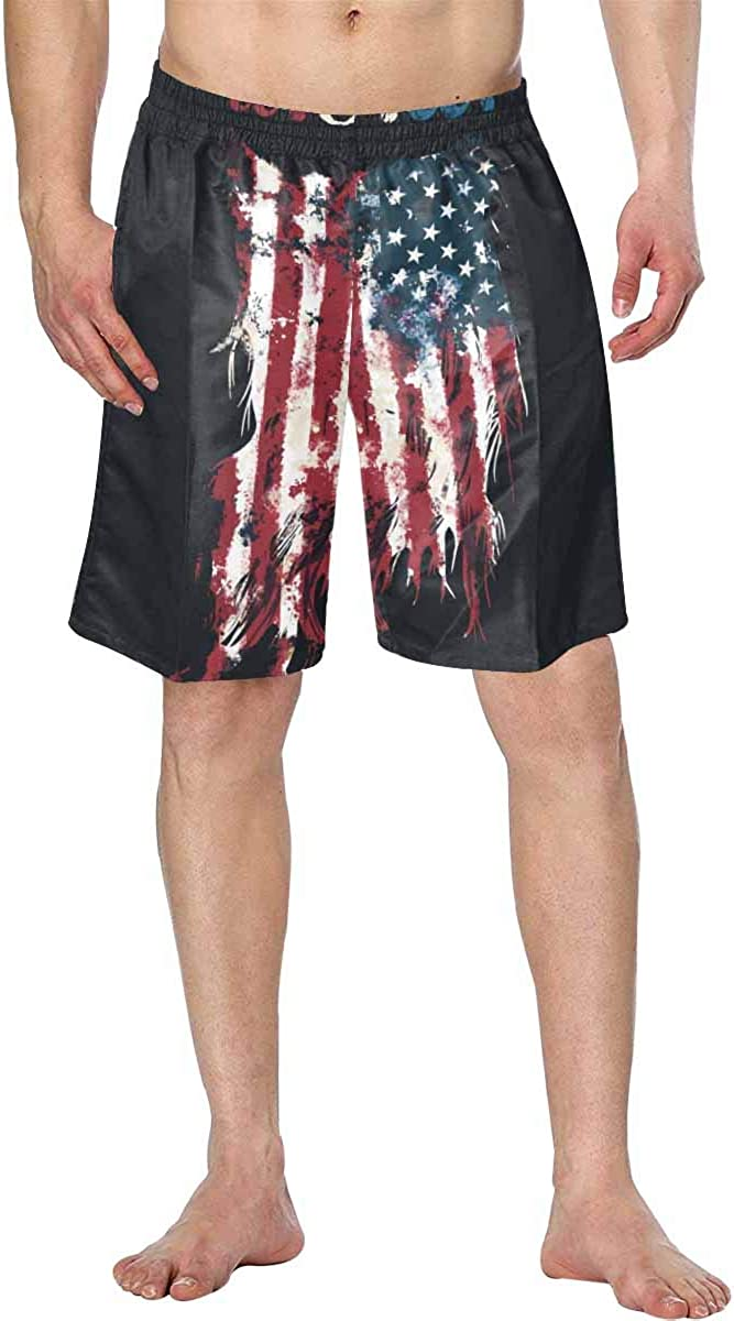 InterestPrint Swim Trunks Breathable Beach Shorts for Men in Holidays U.S.A Ripped Flag Fashion Tee Shirt