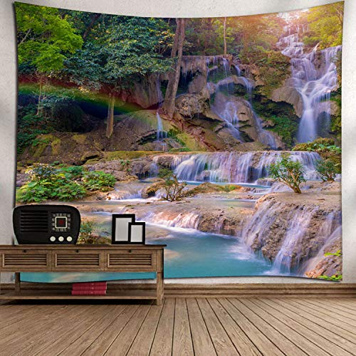 ZXBFJK Tapestry Wall Hanging,Hippie Psychedelic Large Rectangular Print Fabric Tapestries,3D Printed Beautiful Scenic Mountain Waterfall,Indian Art Print Mural,for Bedroom Living Room Dorm Home Decor