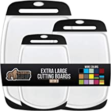 Gorilla Grip Oversized Cutting Board, 3 Piece, Easy Grip Handle, Juice Grooves, Non-Slip, Extra Large Thick Chopping Boards, Dishwasher Safe, Non Porous, Kitchen, Professional Serving, Set of 3, Black
