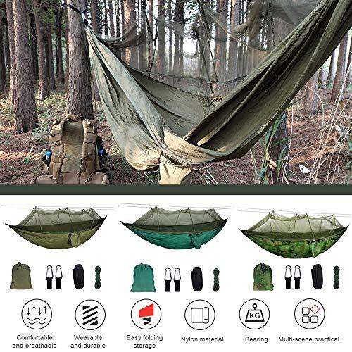 Kekekek, Hammmock portátil para 2 personas, camping, Hammock con mosquitero, red de alta resistencia, paracaídas, teja, cuerna, cubrecolchón, etc.