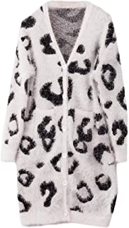 Womens Leopard Cardigan Sweater Knitted Long Sleeve Open Front Button Down Warm Coat