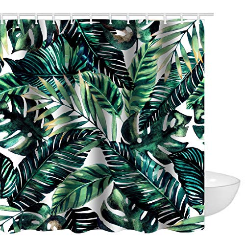 Ao blare Tropical Palm Leaves Printed Polyester Fabric Shower Curtain with Hooks 72 X 72 Inch