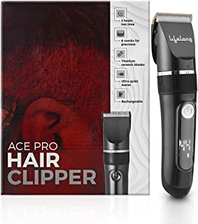 Lifelong LLPCM17 Ace Pro Rechargeable Hair Clipper with Digital Display, 3 hours runtime, 6 combs (3 mm - 12 mm)