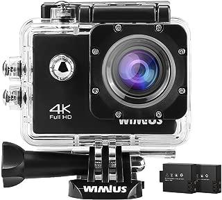 WiMiUS 4Kカメラアクションカメラ16MP防水40M Wifiスポーツカメラ170度ワイド角度with 2電池のアクセサリー、ブラック