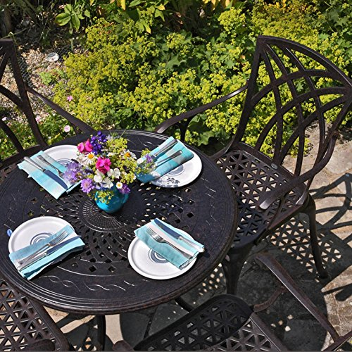 Lazy Susan ANNA 80cm 4 Seater Round Garden Table, Maintenance Free, Sturdy, Weatherproof, Sand Cast Aluminium, Antique Bronze Finish, APRIL Chairs, No Cushions