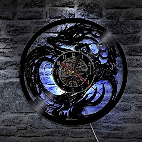 Dungeon Master Dragon - Reloj de pared de vinilo con luces LED nocturnas de 16 colores luminosos para pared, color negro, hecho a mano, idea de regalo única