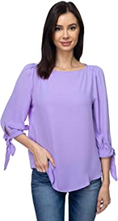 VIA Jay Women's Basic Casual Relaxed Loose 3/4 Sleeve Blouse Top