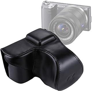 カメラアクセサリー SonyNEX 5N / 5R / 5T(16-50mm/ 18-55mmレンズ)のストラップ付きフルボディカメラPUレザーケースバッグ (色 : Black)