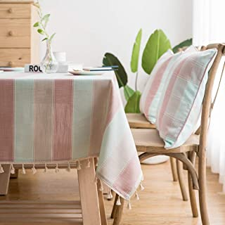 LINENLUX Striped Cotton Linen Tablecloth/Table Cover with Tassel Blue Pink Rectangle/Oblong 55 X 86 in