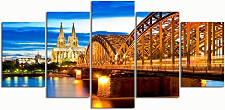 XINGAKA Paintings Modern Canvas Painting Wall Art Pictures 5 Pieces, Cathedral Cologne Blue Hour,Wall Decor HD Printed Posters Frame